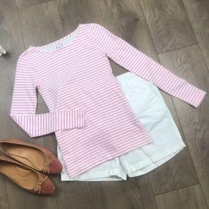 J.CREW Artist T Long Sleeve Pink White Striped